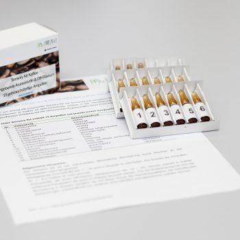 Coffee sensory kit with typical coffee flavours and off-flavours